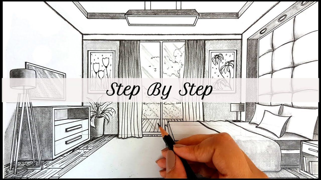 How To Draw A Bedroom In One Point Perspective How To Draw A Room