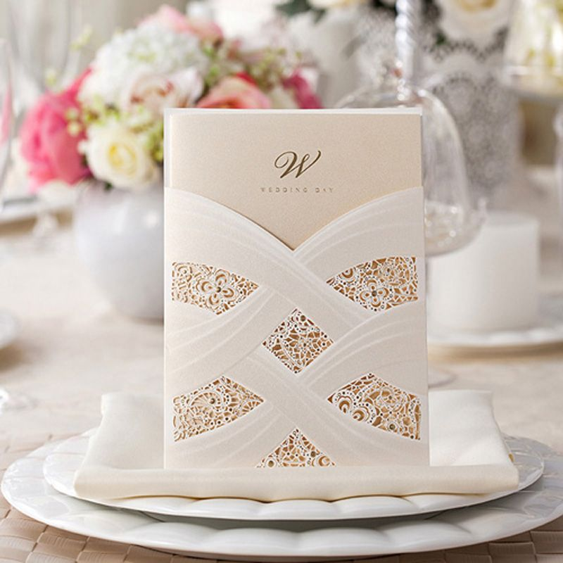 50pcs White Hollow Wedding Invitation Card Greeting Card Postcard - invitation card event