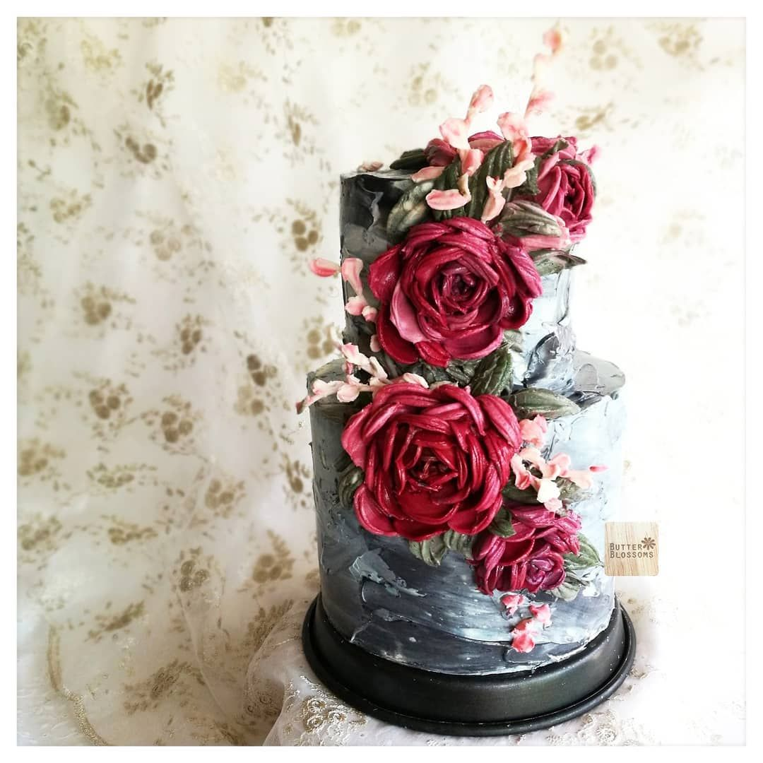 Image May Contain Flower And Plant With Images Painted Cakes Butter Cream Buttercream Wedding Cake