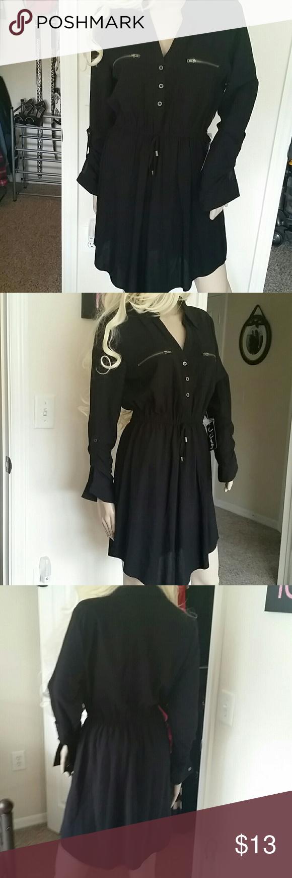 Black shirt dress nwt size l juniors j for justify black shirt dress