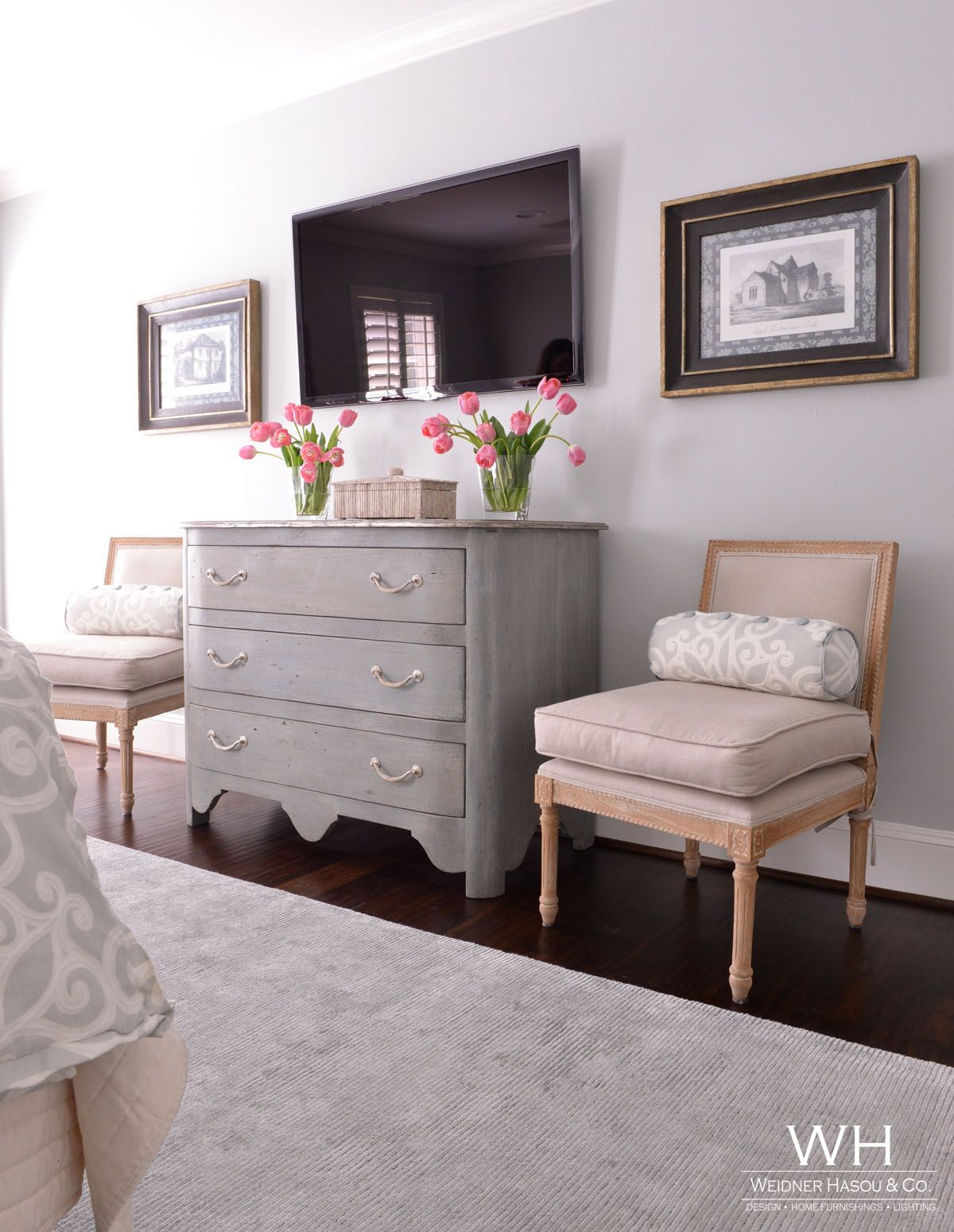 Memorial Transitional   Gray Cabinet, Old Fashioned Chairs And Pillows,  Framed Photos