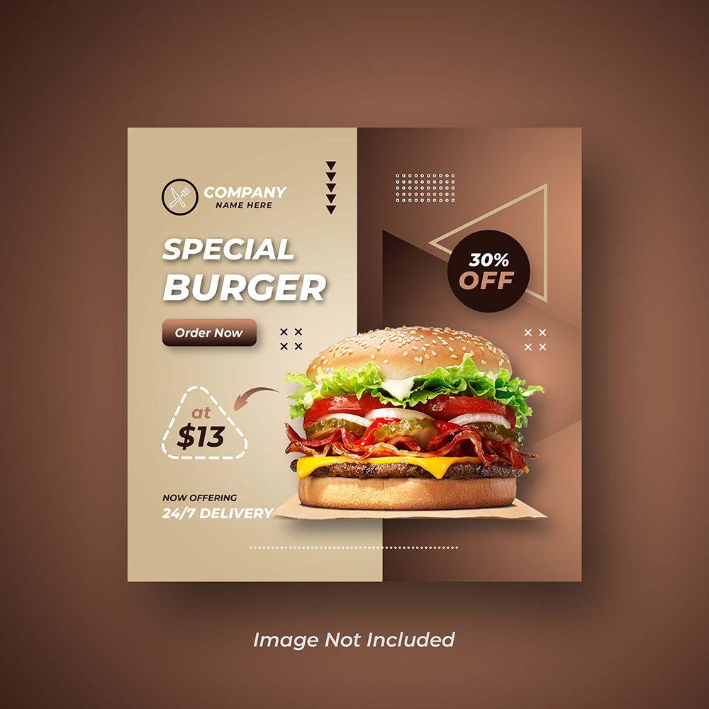 Burger Social Media Or Instagram Banner Design For Restaurant Food Food Poster Design Instagram Food Restaurant Specials