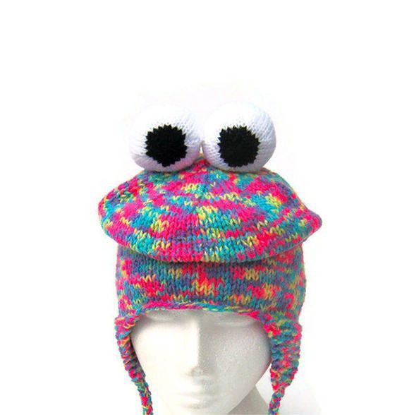 Monster hat novelty knit ear flap funky snowboard ski by jarg0n ... 2f254280883