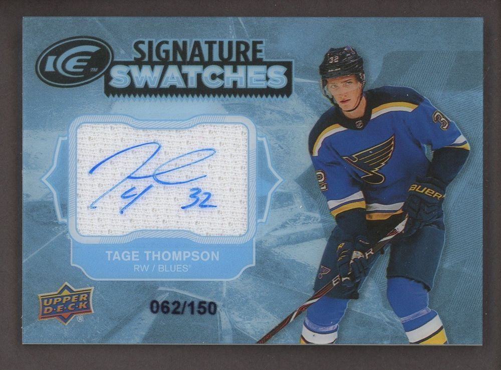 fe536f63a20 2017-18 Upper Deck Ice Tage Thompson Jersey AUTO 62/150 St. Louis Blues