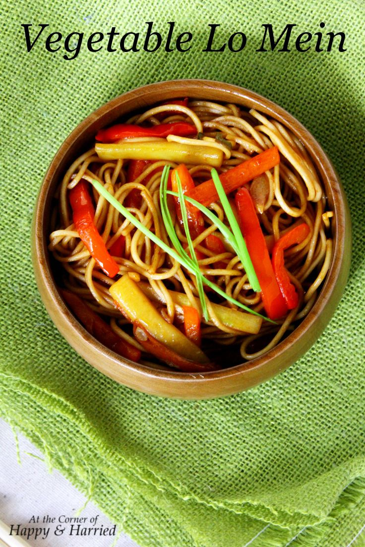 Quick & Delicious Vegetable Lo Mein {With a Red Wine Sauce For The Stir Fry}. #happyandharried #LoMein #vegetarian #vegetables #RedWine #dinner #takeout #Chinese