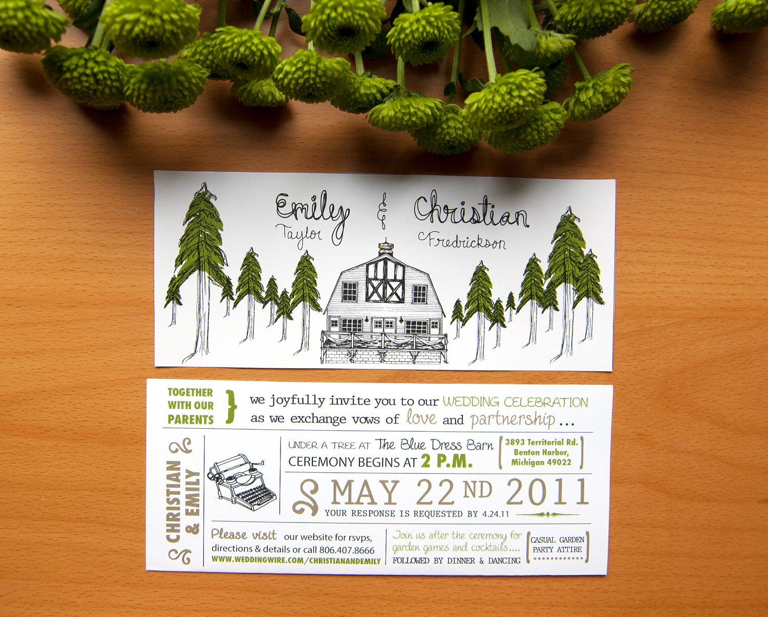 Rustic Wedding Invitation With Forest & Barn Illustration. $2.50 ...