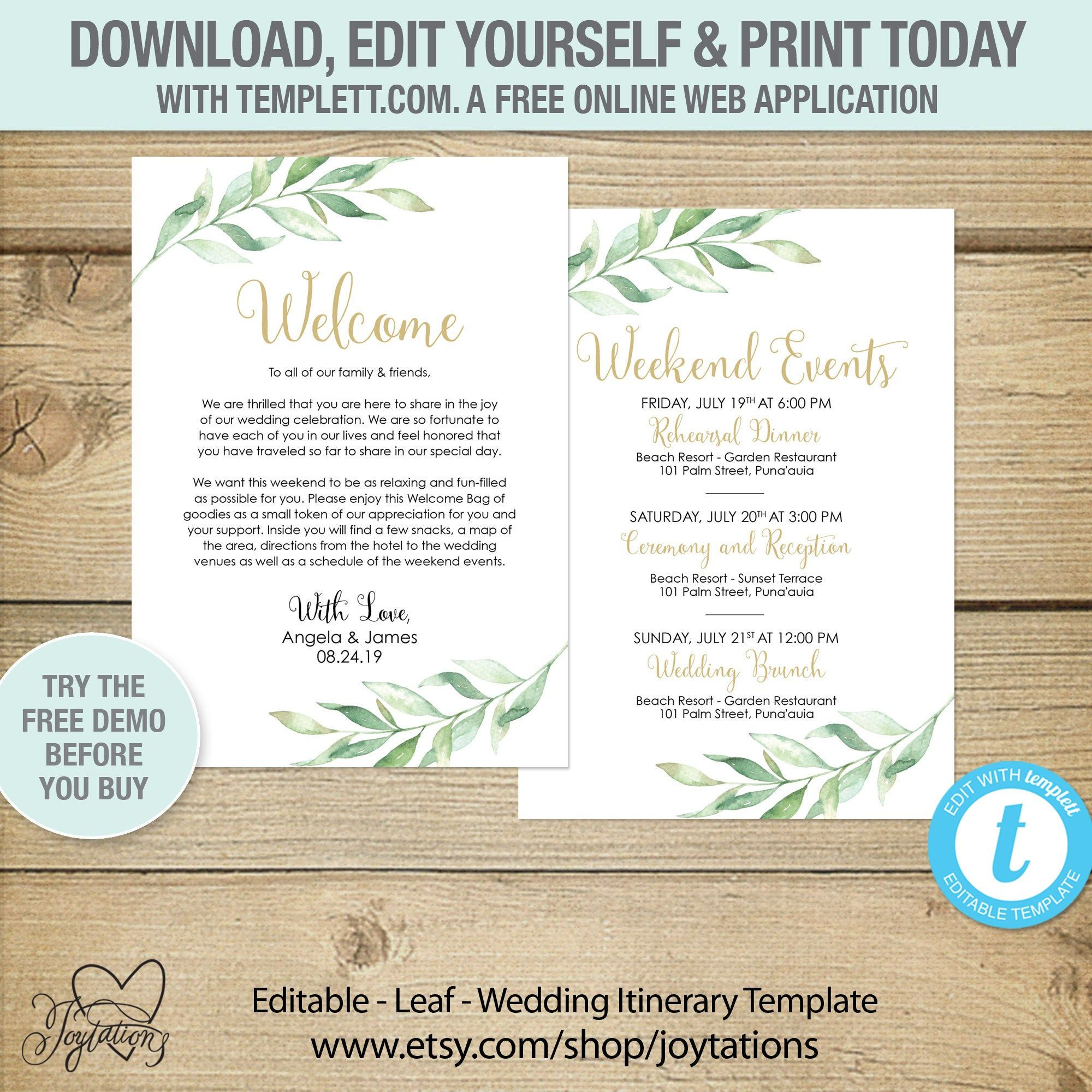 Editable Leaf Wedding Itinerary Card Template Instant Etsy Wedding Itinerary Card Template Bridal Shower Games