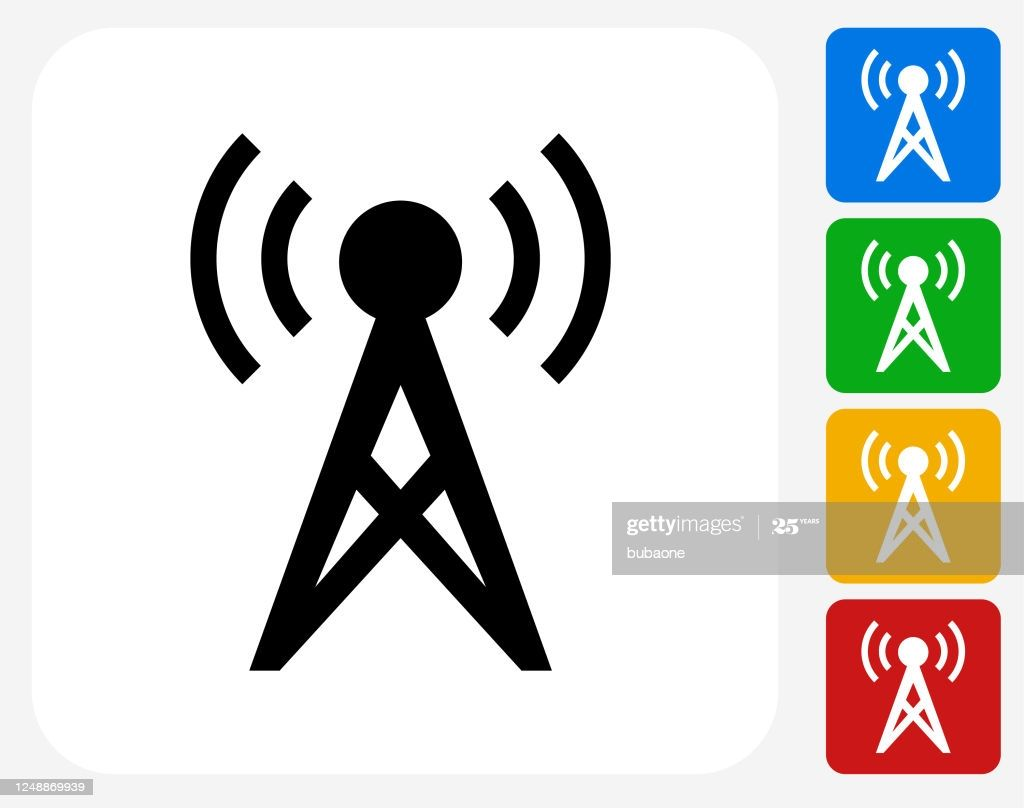Communication Radio Tower With Sound Waves Icon This 100 Royalty Waves Icon Communication Radios Sound Waves
