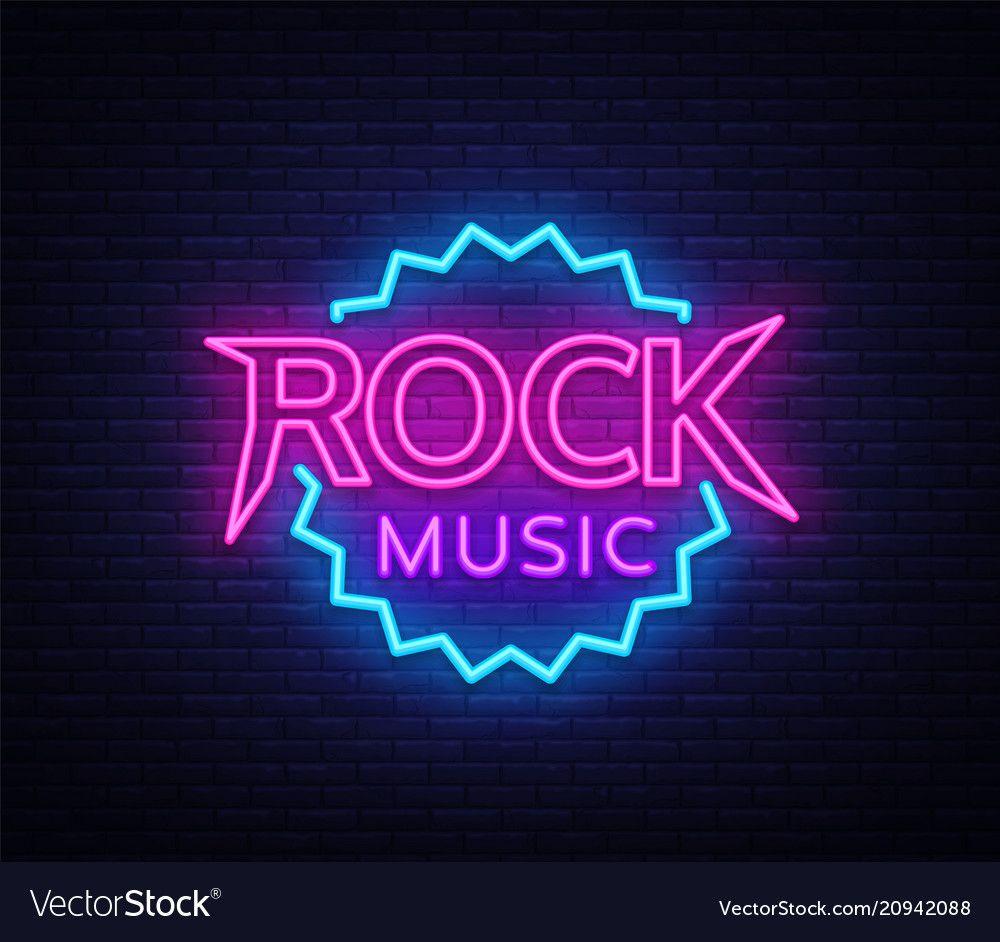 Rock music neon rock music neon sign vector image on