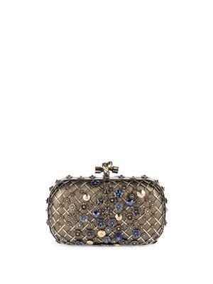 BOTTEGA VENETA Chelsea Knot Embellished Karung Clutch.  bottegaveneta  bags   lining  clutch  metallic  suede  hand bags   28ada290cb694