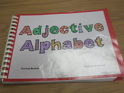Love it! Fun way for adjectives, how about antonyms, synonyms, homophones, nouns (common vs. proper), pronouns, etc.  You could create a whole class library and then auction them off at the end of the year!