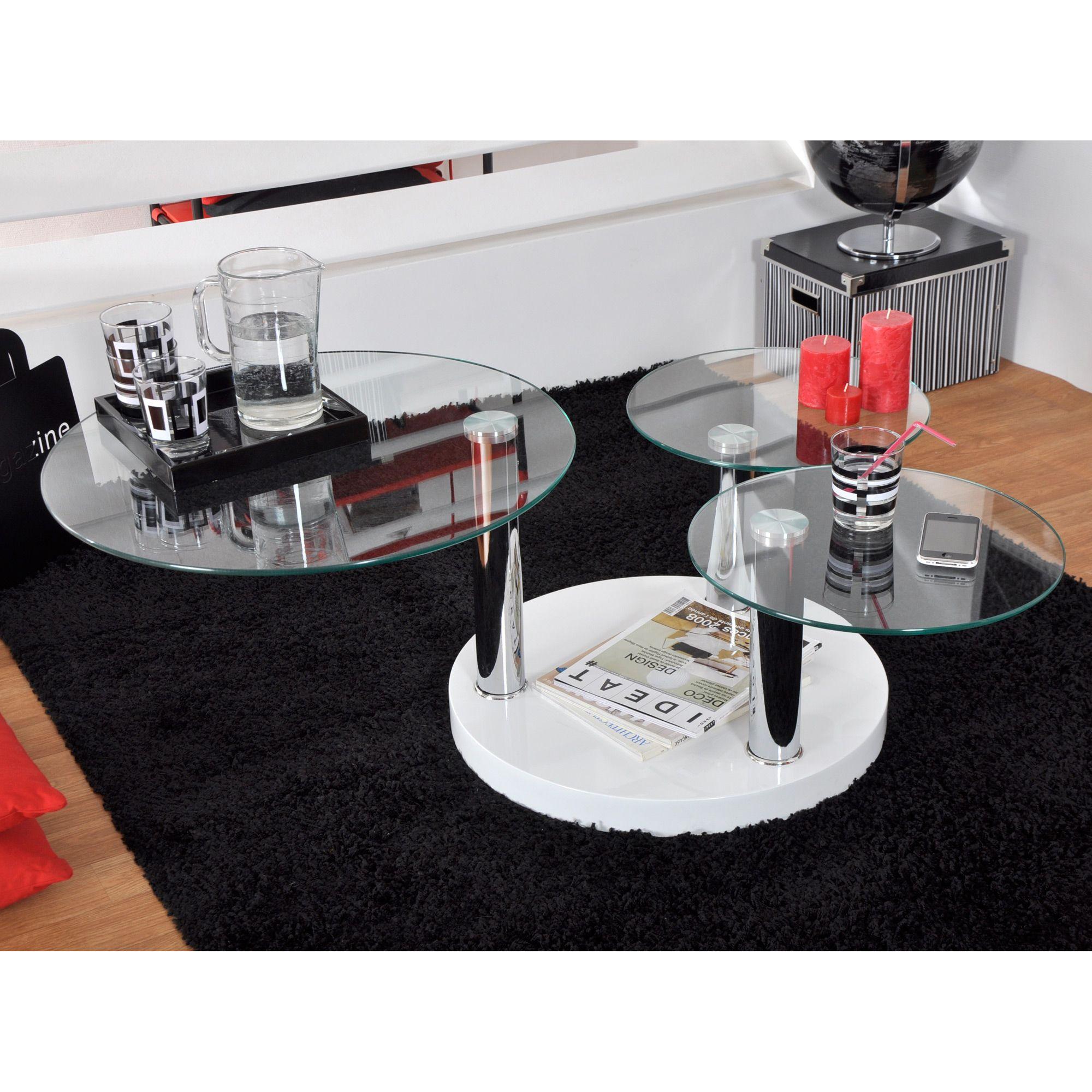 Table Basse Ronde Verre Trempe Laque Blanc L60 116xl60 109xh42cm