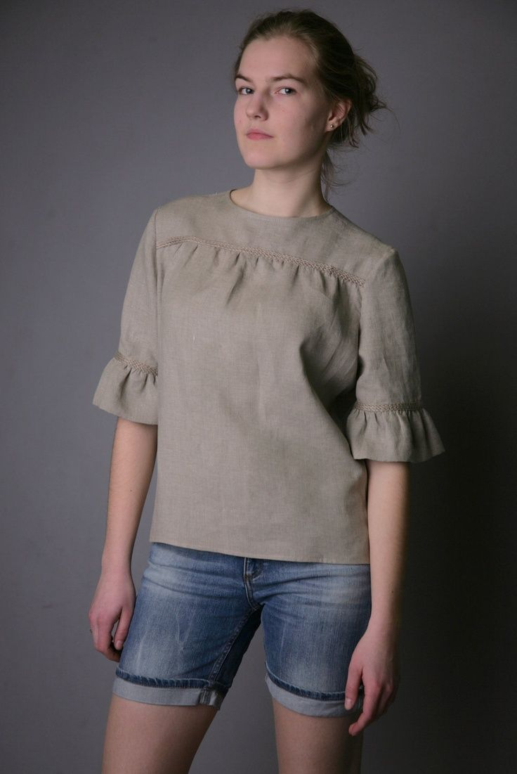 Pure Linen Natural Blouse for Woman.  39.00 83c089bf2e
