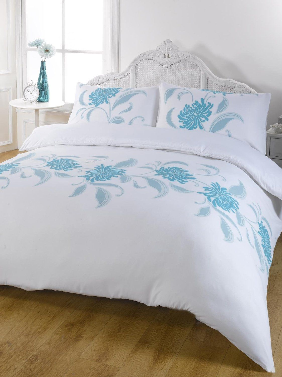 White Single Quilt Cover Exquisite Teal Blue White Modern Floral Single Duvet Quilt
