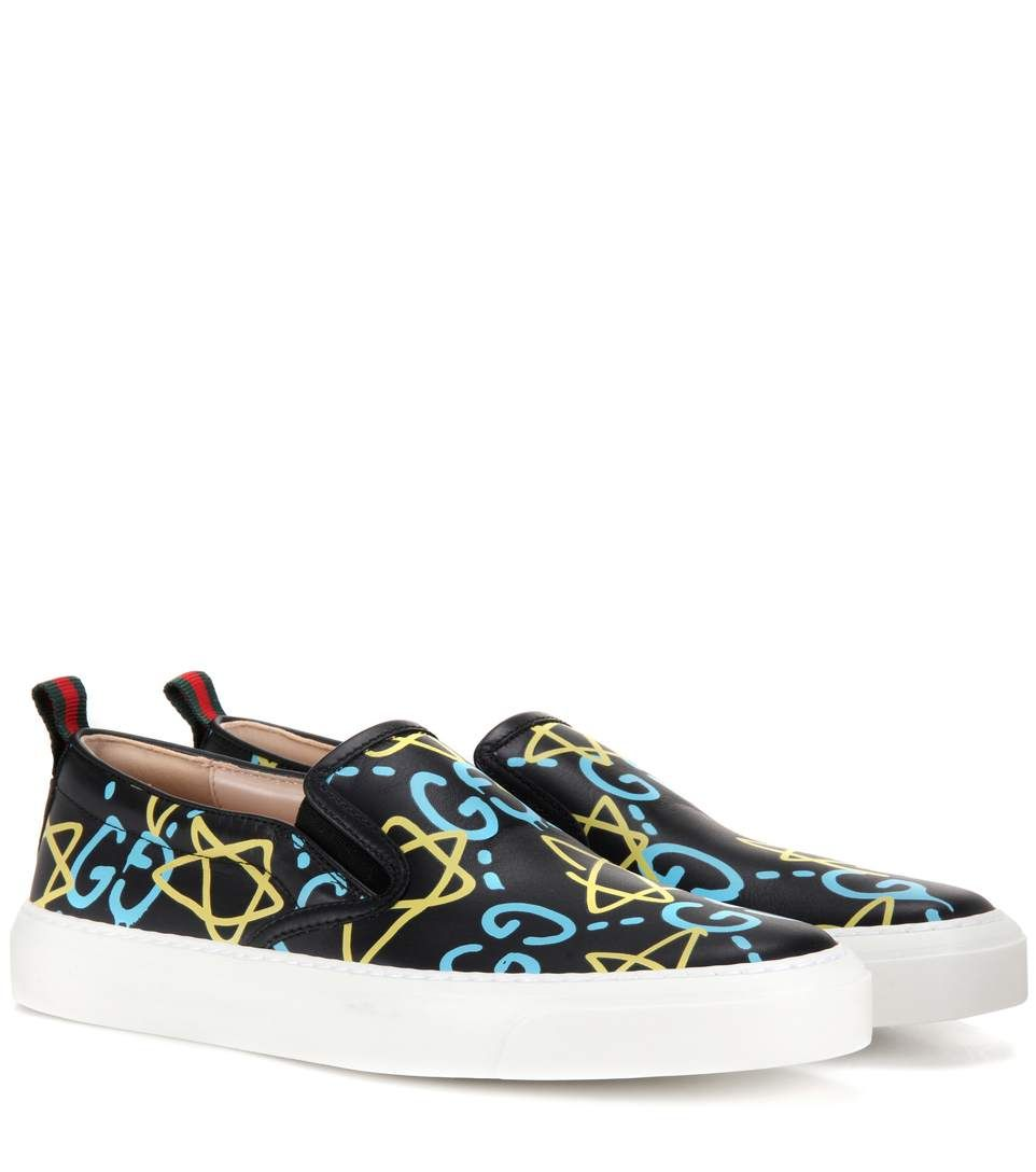 b9a9a24d18a GUCCI GucciGhost printed leather slip-on sneakers.  gucci  shoes  sneakers
