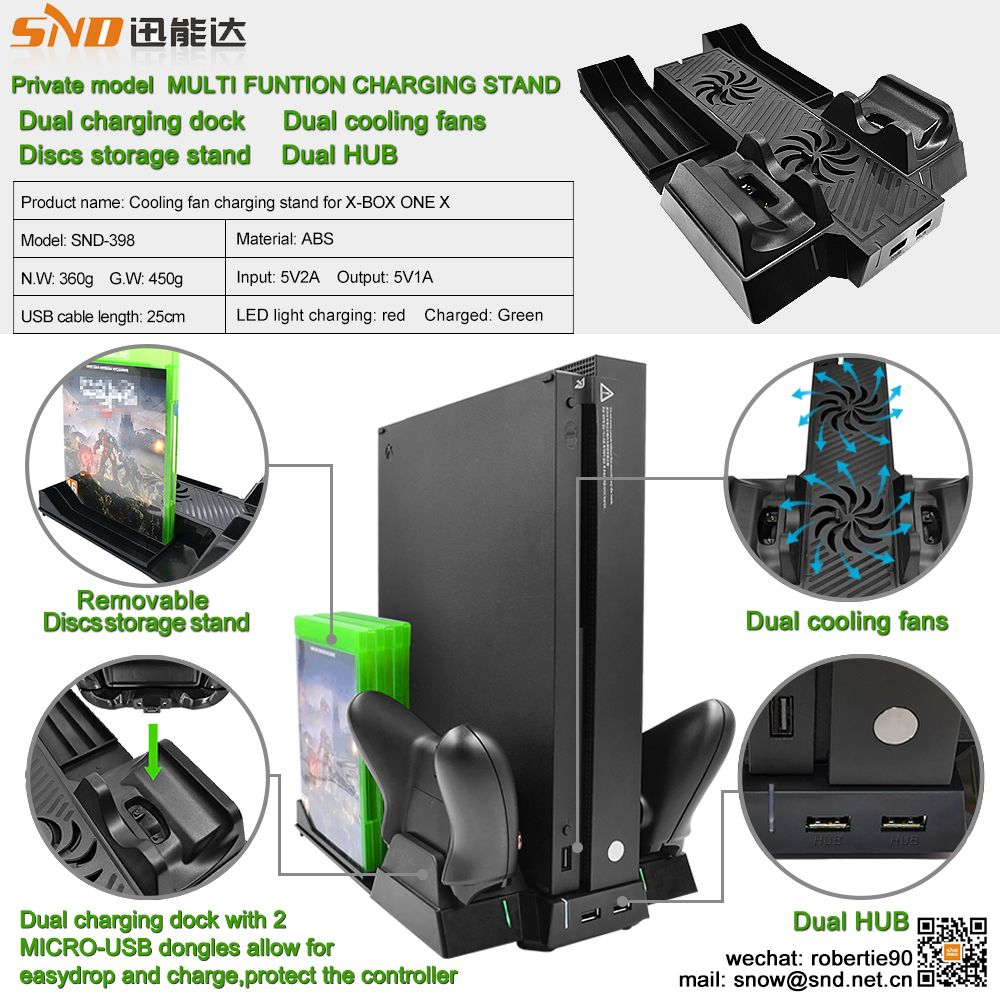 Multifunctional Xbox One X Chargerdock Cooling Fan With Disc