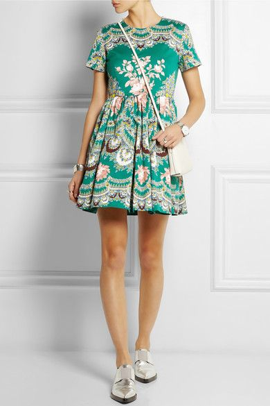 Love the detailed print and bold colour of this dress - looks super comfy | Printed stretch-cotton faille mini dress | MSGM