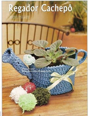 """PRECIOUS FINDINGS: Cute crochet water can with diagram, click on diagram image to enlarge. This would make any plant smile, and yes I said """"smile"""" :)"""