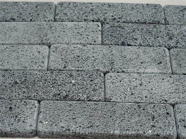 Tumbled Volcanic Lava Stone Brick Tiles