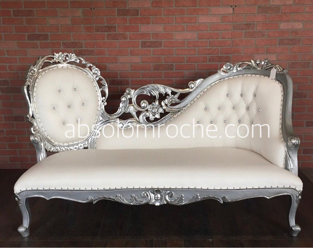 50 off bridal show sample baroque filigree chaise sofa settee goldwhite products pinterest products
