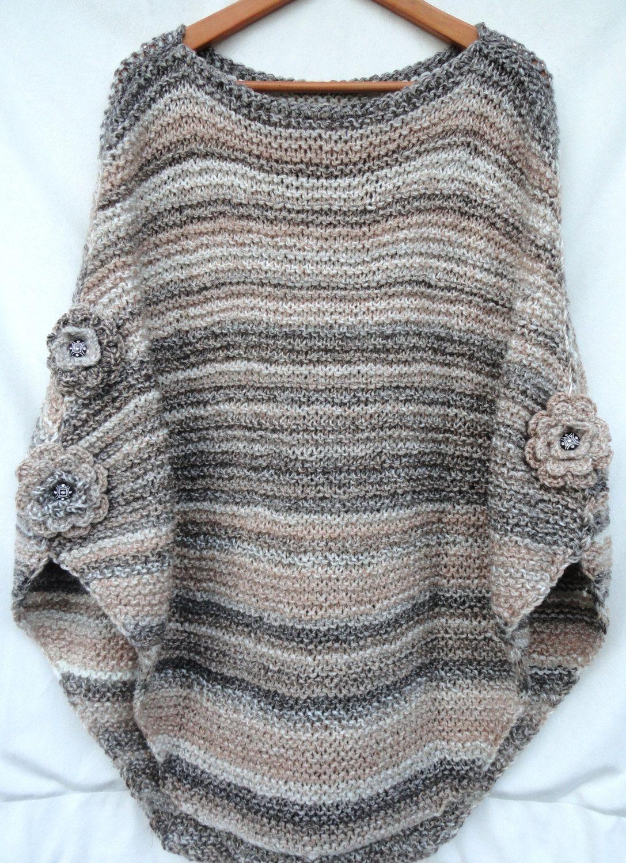 Hand knit poncho | Вязание спицами | Pinterest | Ponchos, Tejido y ...