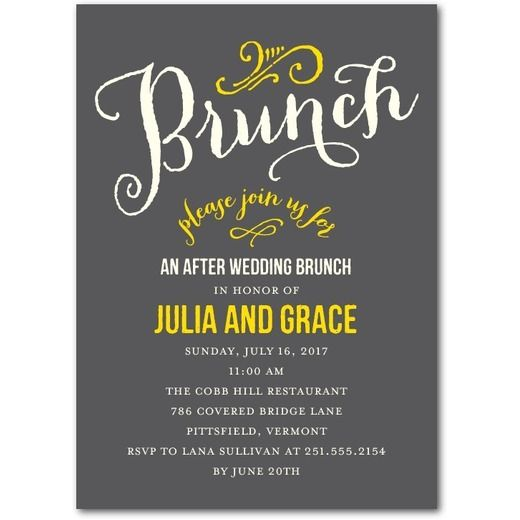 at last after wedding brunch invitations jenny romanski dark