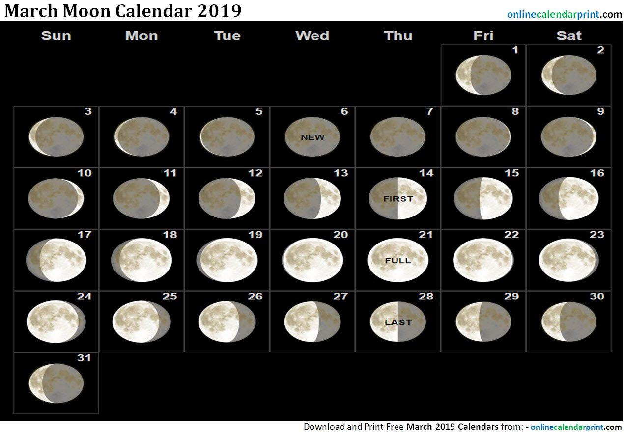 March Calendar Moon Phases