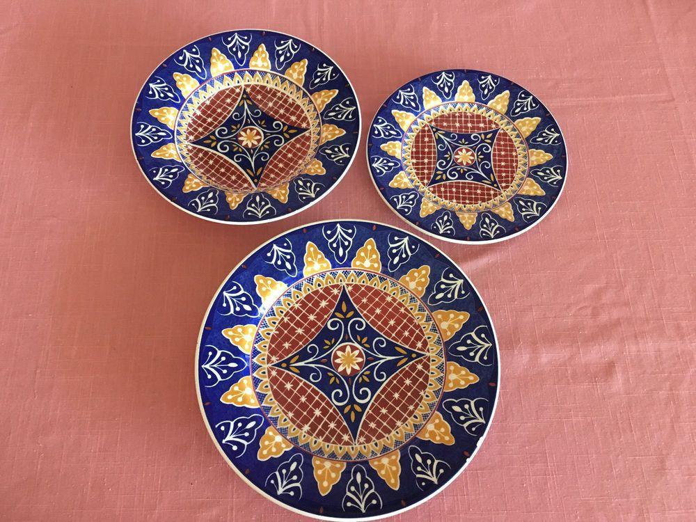 Pier 1 Earthenware Vizcaya Set 3 Dinner Plate Soup Cereal Bowl Sandwich Plate & Pier 1 Earthenware Vizcaya Set 3 Dinner Plate Soup Cereal Bowl ...
