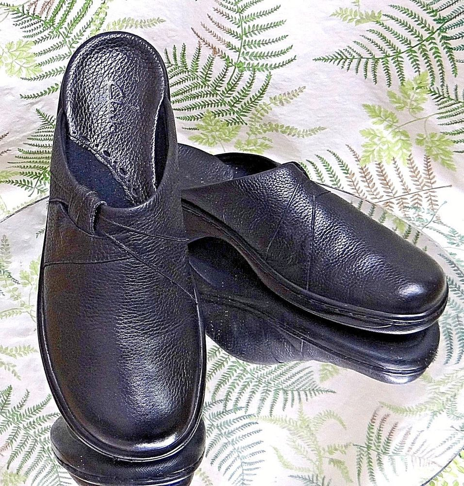 20e94170bf4 R5clarksblack leather loafers mules slides slip ons dress shoes us womens  sz 7 m