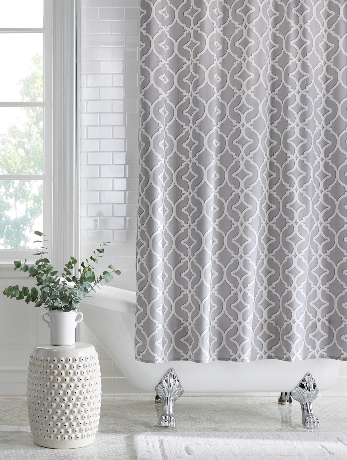 Update your bathroom with a new shower curtain. A pretty pattern ...