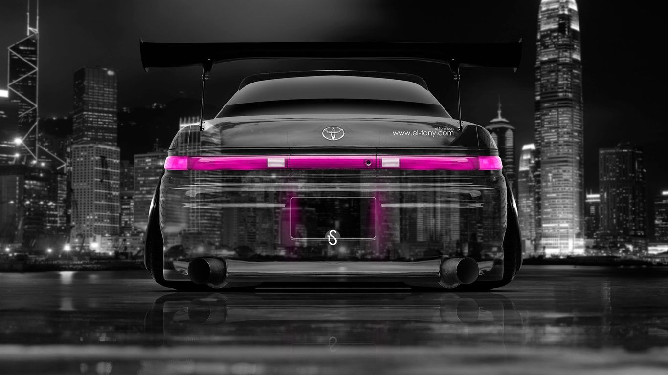 Tony Kokhan, Toyota, Mark2, Jzx90, Jdm, Back, Crystal, City, Car, Tuning,  Pink, Colors, El Tony Cars, Photoshop, Design, Art, Style, Japan, Night, ...