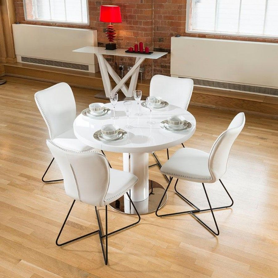 Dining set white gloss 1.05 metre round to oval extending ...