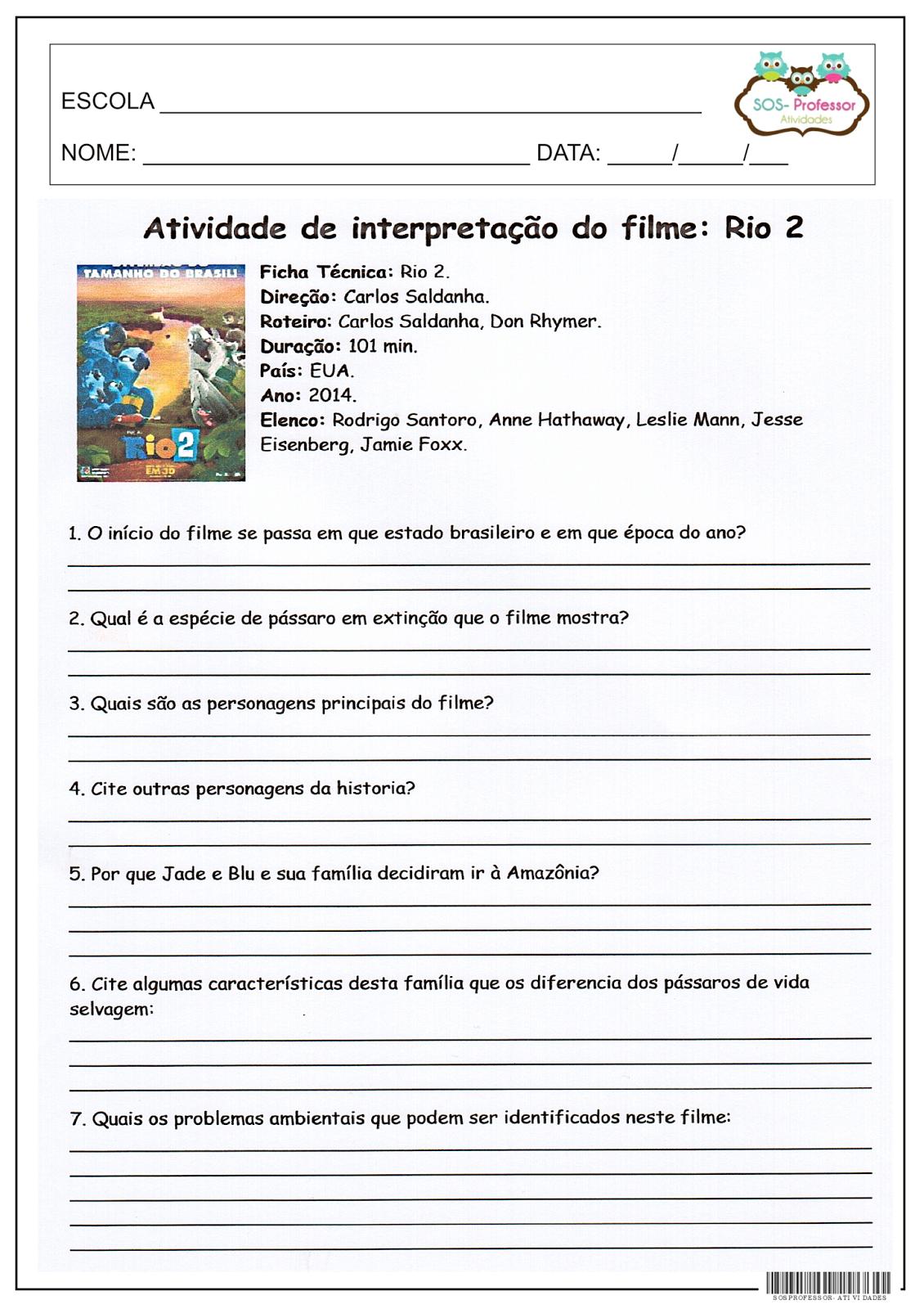 SOS PROFESSOR-ATIVIDADES: Filme | atividades | Pinterest | Textos ...