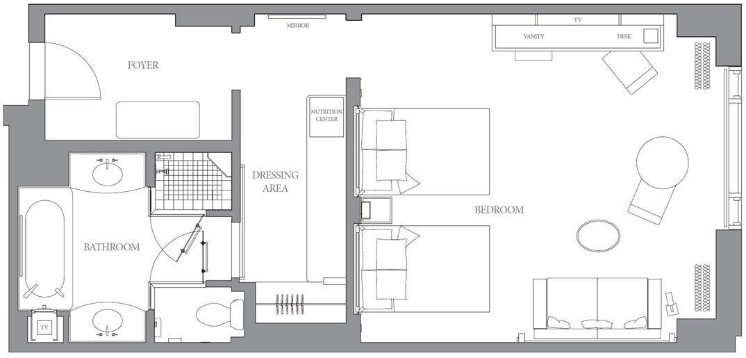 Peninsula Chicago Grand Premier Double Room Floor Plan