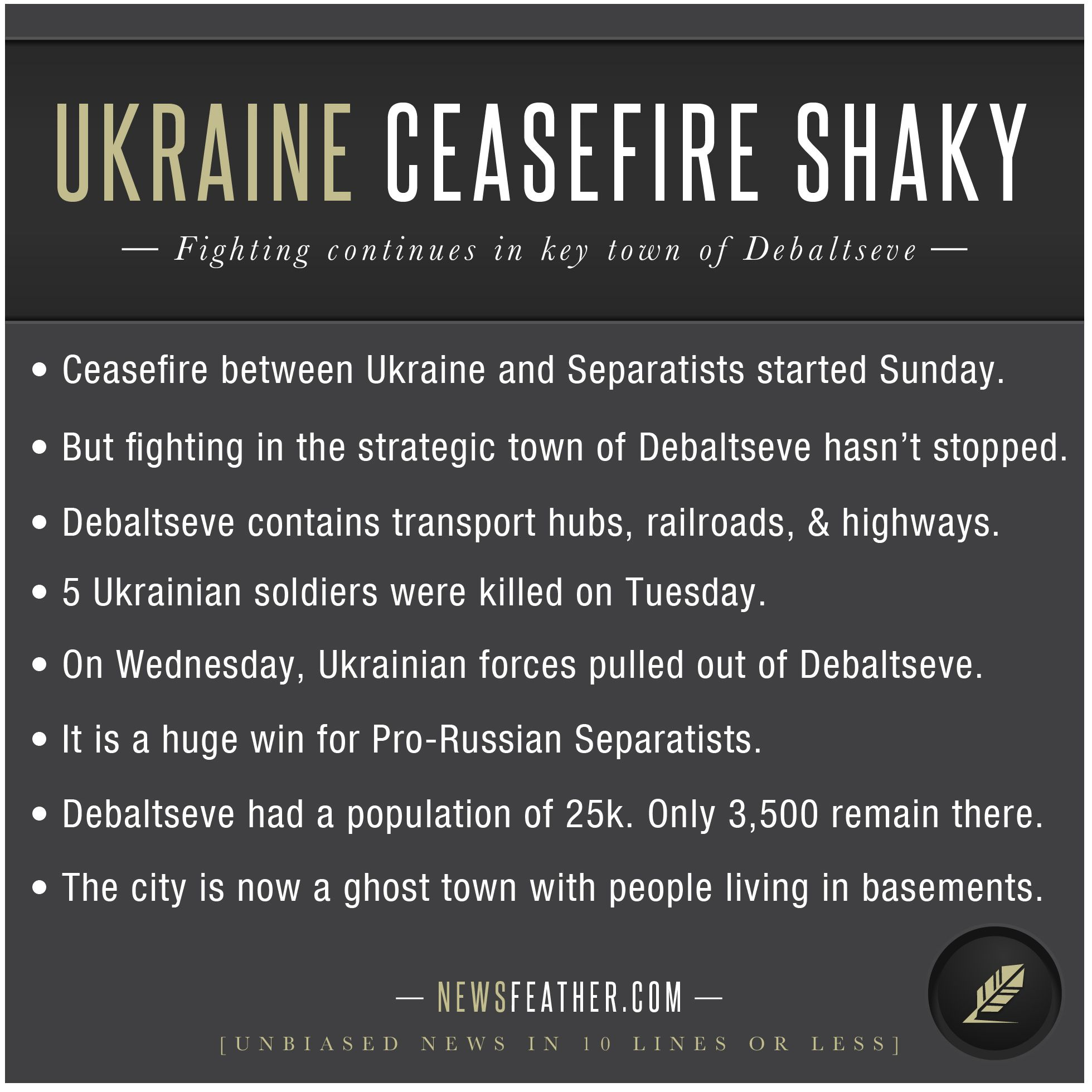 Fighting between Ukraine and Pro-Russian Separatists continues after ceasefire.