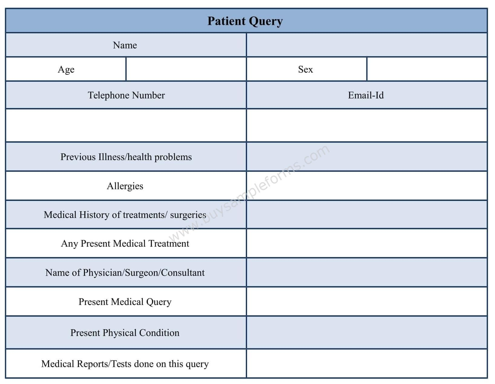 Patient Query Form Template in Word Format Medical
