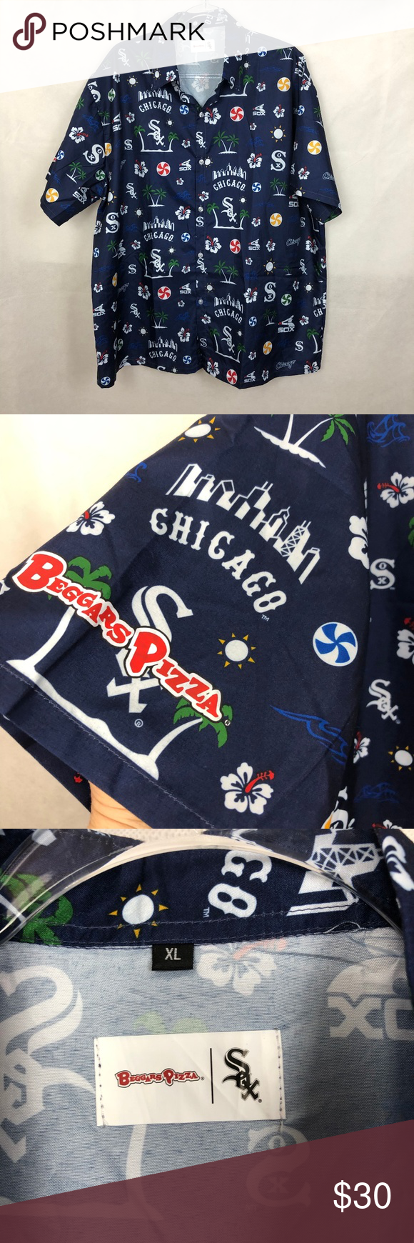 83f972c3 Beggars Pizza White Sox Hawaiian Shirt XL -Beggar's Pizza Chicago White Sox  hawaiian button down