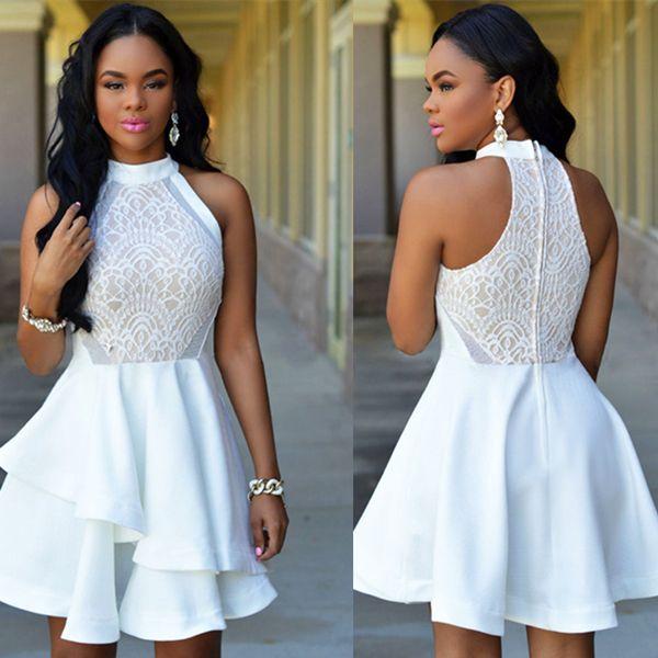 507cbb5a708 White Lace Nude Irregular Layered Skater Dress Women Dress Party Dress  Bridesmaid Dress