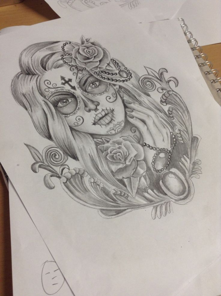 Day of the Dead Design I did for a thigh piece - David