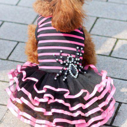 Urparcel Pet Dog Lace Tutu Dress Striped Spider Skirt Princess Clothes Rose M
