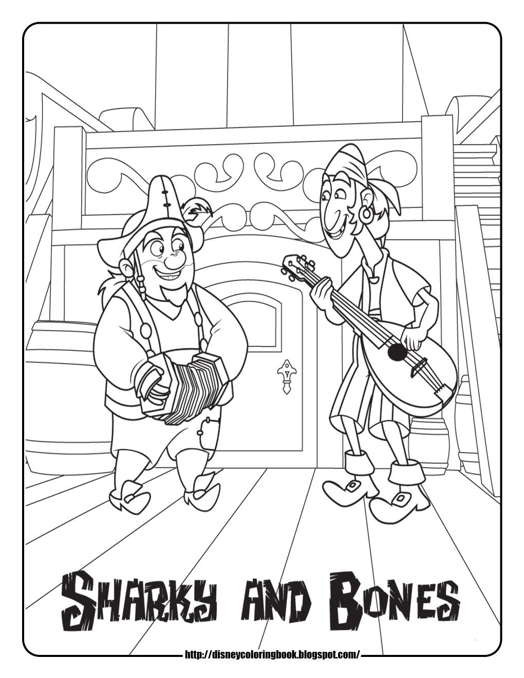 Pirate colouring pages to print - Jake And The Never Land Pirates Coloring Pages Sharky And Bones