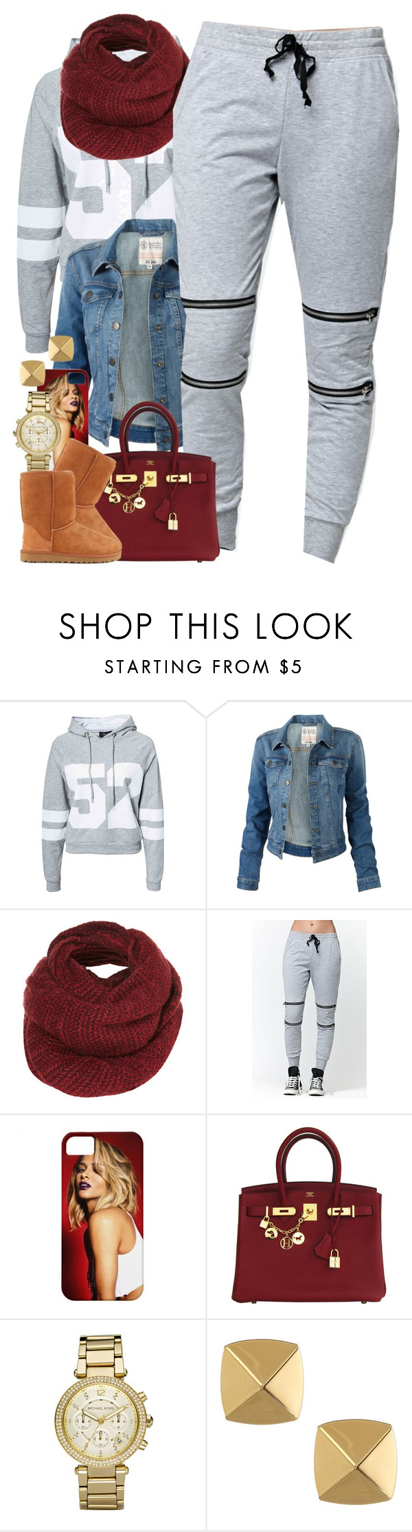 """""""Untitled #1443"""" by power-beauty ❤ liked on Polyvore featuring Sisters Point, Fat Face, Topshop, LA: Hearts, Hermès, Michael Kors, Vince Camuto and UGG Australia"""