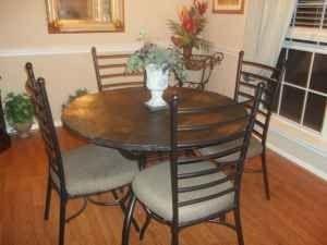Elegant Slate Dining Table W 4 Chairs 325 Round Rock Oak