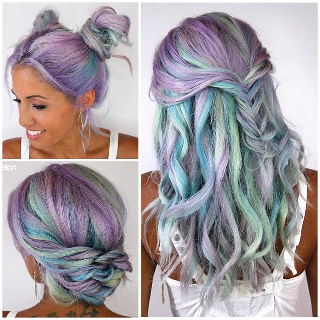 Pulp riot - mermaid bright hair colour & curls - pastel blue green purple  hair