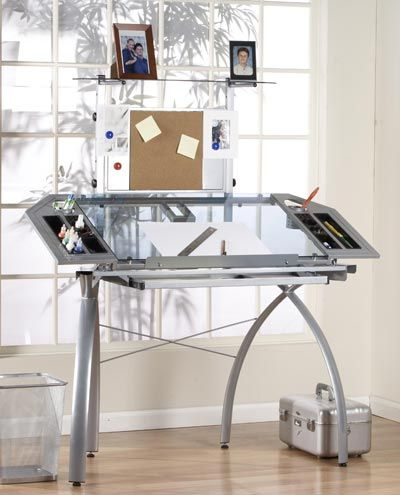 Awesome Studio RTA Design Glass Top Futura Tower Drawing Table