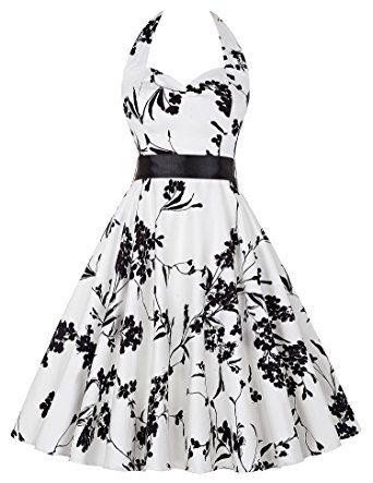 50s vintage rockabilly kleid audrey hepburn kleid blumenkleid damen ...