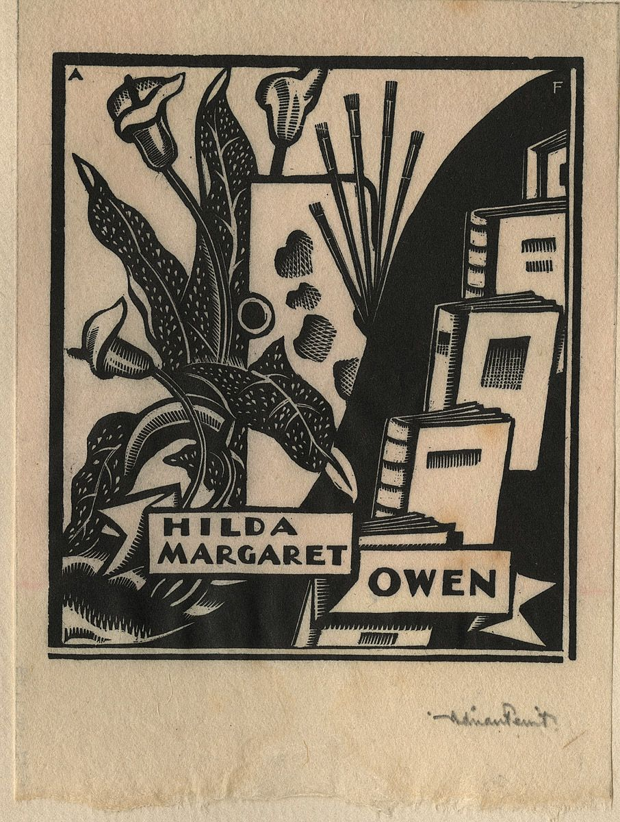 Adrian FEINT, Bookplate: Hilda Margaret Owen.