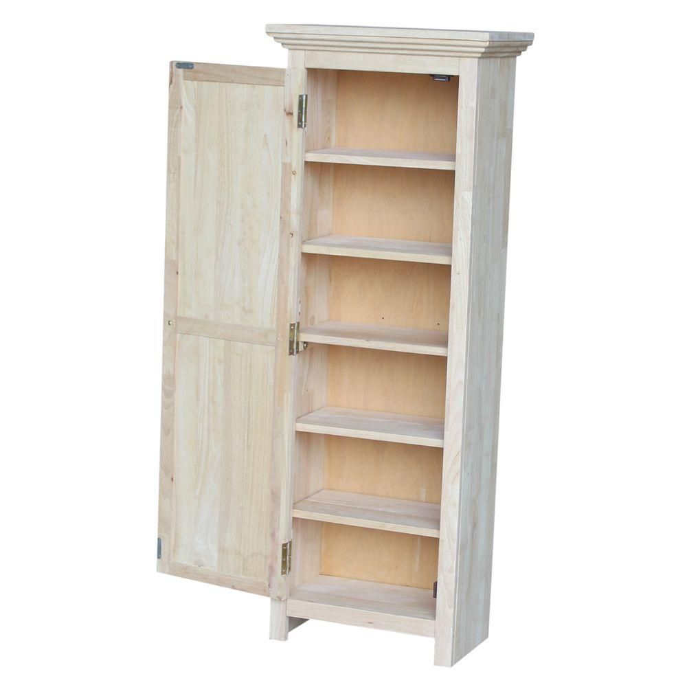 International Concepts Solid Parawood Storage Cabinet In Unfinished Wood Cu 15 The Home Depot Kitchen Cabinet Storage Diy Pantry Cabinet Office Storage Cabinets