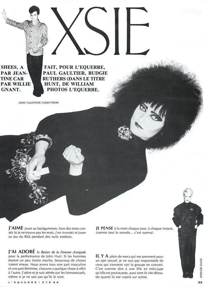 Bottom Dave Gahan Franzosischer Artikel Aus 1986 Siouxsie The Banshees Siouxsie Sioux Indie Pub
