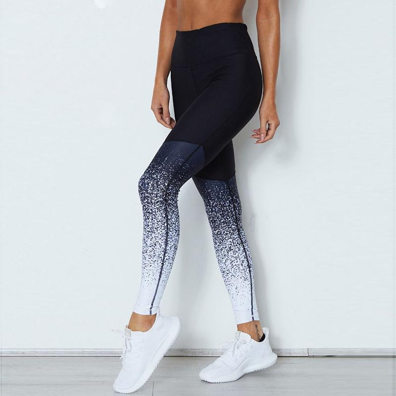 7b9fdf215 Size Large Color Black Blue White. Women Fitness Leggings Sexy Hip Casual Print  Workout Pants Pencil Stretchy Trousers Gradient ...